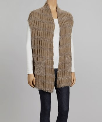 Nicole Sabbattini Camel & Rose Ribbed Open Cardigan