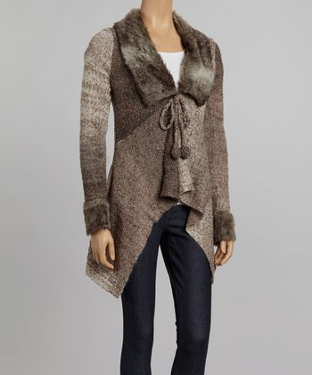 Nicole Sabbattini Brown Faux Fur Wool-Blend Open Cardigan