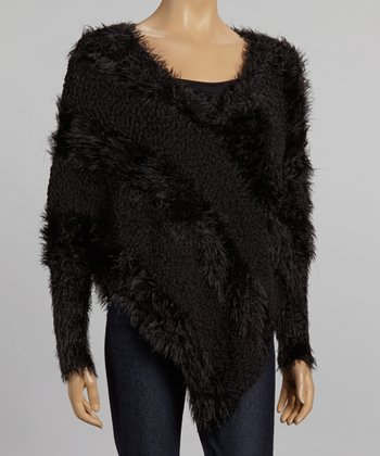 Nicole Sabbattini Black Asymmetrical Faux Fur Sweater