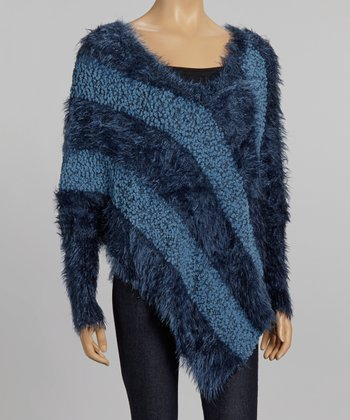 Nicole Sabbattini Blue Asymmetrical Faux Fur Sweater