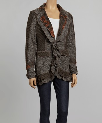 Nicole Sabbattini Gray & Rust Embroidered Ruffle Jacket