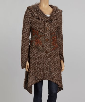 Nicole Sabbattini Brown & Rust Embroidered Faux Fur Jacket