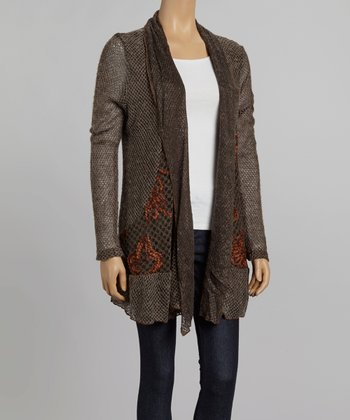 Nicole Sabbattini Gray & Rust Ruffle Mohair Wool-Blend Open Cardigan