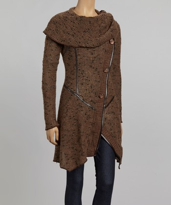 Nicole Sabbattini Brown Asymmetrical Cowl Neck Cardigan