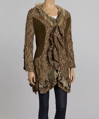 Nicole Sabbattini Olive & Brown Faux Fur Ruffle Cardigan