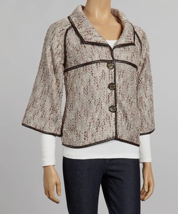 Nicole Sabbattini Gray & Silver Button-Up Jacket