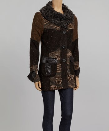 Nicole Sabbattini Black & Olive Faux Leather Patchwork Coat