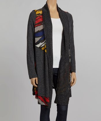 Nicole Sabbattini Gray & Red Mohair Wool-Blend Open Cardigan