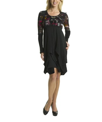 Premise Paris Black & Wine Handkerchief Empire-Waist Dress