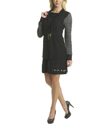 Premise Paris Black & Gray Empire-Waist Wool Dress