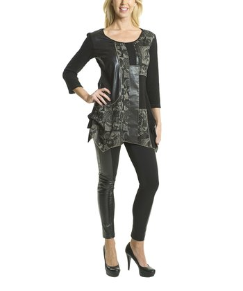 Premise Paris Black & Olive Faux Leather Patchwork Tunic