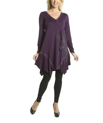 Premise Paris Purple Ruffle Surplice Tunic