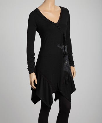 Premise Paris Black Ruffle Surplice Tunic
