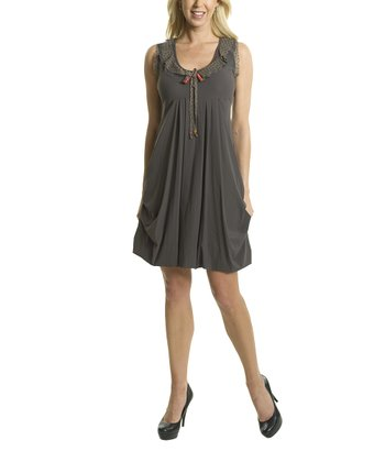 Premise Paris Khaki Scoop Neck Empire-Waist Dress