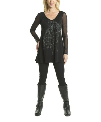 Premise Paris Black Sheer-Sleeve V-Neck Tunic