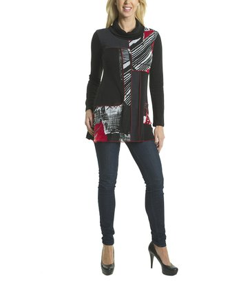 Premise Paris Black & Red Patchwork Cowl Neck Tunic