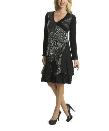 Black Leopard Faux Leather Patchwork V-Neck Dress