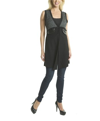 Premise Paris Black & Gray V-Neck Wool-Blend Vest