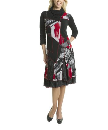 Premise Paris Black & Red Patchwork Cowl Neck Dress