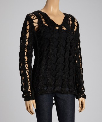 Custo Barcelona Black Braided Wool-Blend Top