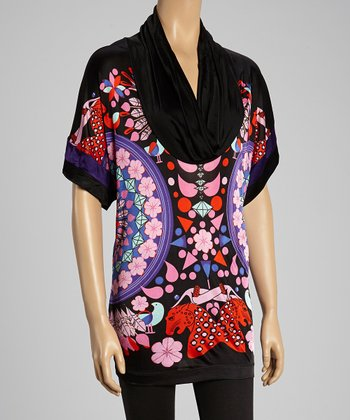 Custo Barcelona Pink & Black Diamond Scene Cowl Neck Tunic