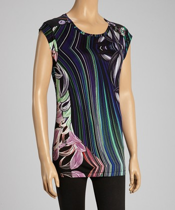 Custo Barcelona Black & Violet Leaves Cap-Sleeve Tunic