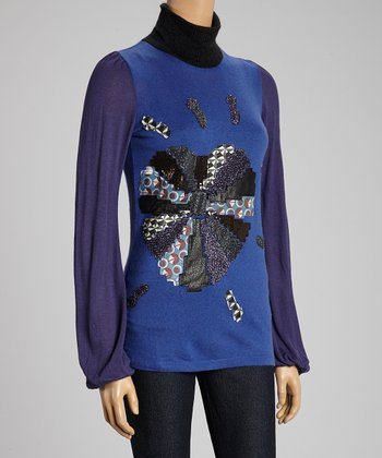 Custo Barcelona Violet Gina Topaz Turtleneck Top