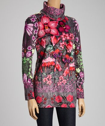 Custo Barcelona Gray & Pink Floral Turtleneck Top