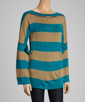 Custo Barcelona Teal & Taupe Stripe Wool-Blend Top