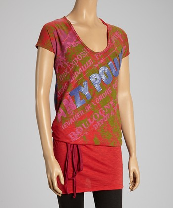 Custo Barcelona Red & Blue Africa Tie-Waist Tunic