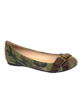 Green & Brown Camo Suede Adrian Flat