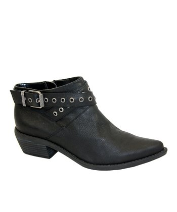 Black Lether Riley Bootie