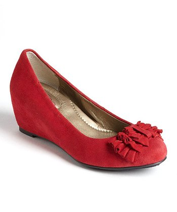 Red Suede Shelby Wedge