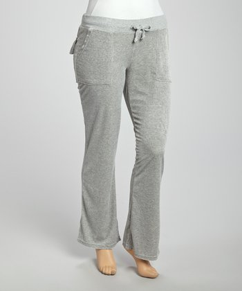 Gray Velour Lounge Pants - Plus