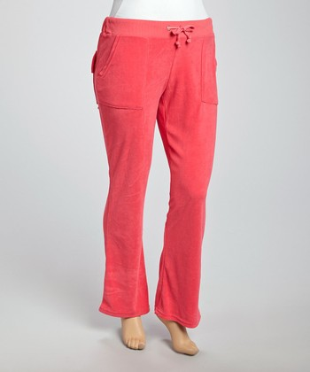 Pink Velour Lounge Pants - Plus