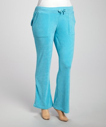 Teal Velour Lounge Pants - Plus