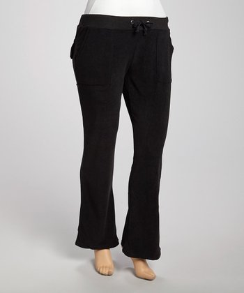 Black Velour Lounge Pants - Plus