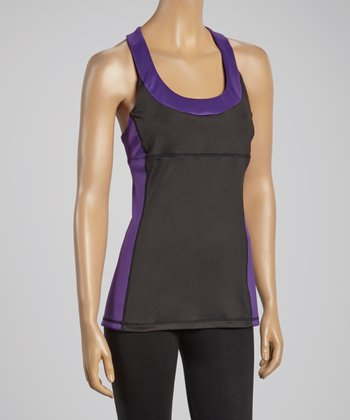 Black & Eggplant Color Block Racerback Tank