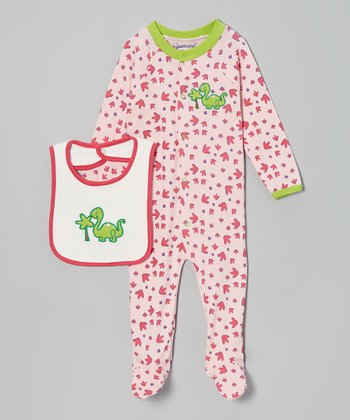 Pink & Green Dinosaur Footie & White Bib - Infant