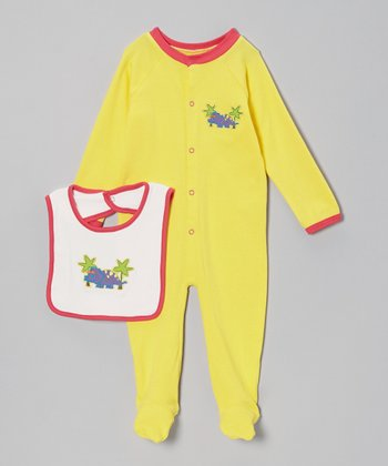 Yellow & Purple Dinosaur Footie & White Bib - Infant