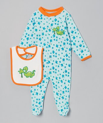 Blue & Green Dinosaur Footie & White Bib - Infant