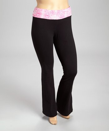 Fuchsia Snake Yoga Pants - Plus