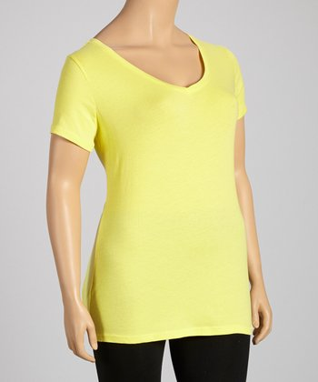 Yellow Glass V-Neck Tee - Plus
