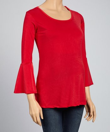 Red Maternity Bell-Sleeve Top