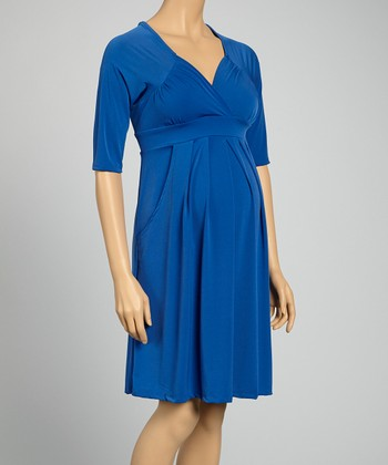 Royal Blue Pocket Maternity Three-Quarter Sleeve Dress