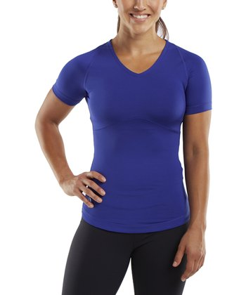 Electric Blue Tanto Compression Short-Sleeve Top