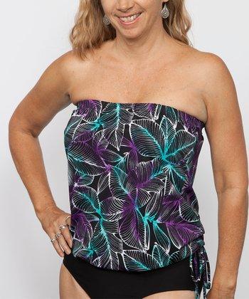 topanga By T.H.E. Turquoise & Purple Blouson Strapless Tankini Top - Women & Plus