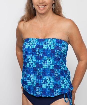 topanga By T.H.E. Blue Weave Blouson Strapless Tankini Top - Women & Plus