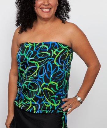 topanga By T.H.E. Blue & Green Confetti Blouson Strapless Tankini Top - Women