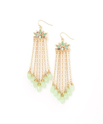 Gold & Green Chain Drop Earrings